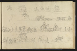 Sketches of the line of march with bullock carts, elephants, horsemen, etc.